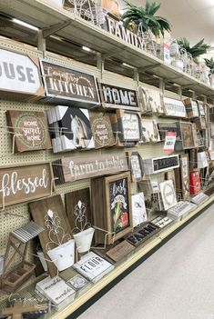 Signs galore at Hobby Lobby! lobby farmhouse decor Best things to Buy at Hobby Lobby Country Farmhouse Decor, Farmhouse Kitchen Decor, Farmhouse Design, Modern Farmhouse, Farmhouse Style, Target Farmhouse, Farmhouse Ideas, Country Style Furniture, Vintage Farmhouse Decor
