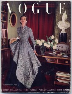 British Vogue September 1950 London and Paris Collections Cecil Beaton Vintage high fashion magazine Vogue Magazine Covers, Fashion Magazine Cover, 1950s Style, Vogue Uk, Vintage Glamour, Vanity Fair, Anna Wintour, Vintage Vogue Covers, Vintage Outfits