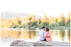 Engagement Portrait Sitting on rock by water | Spring Lake Park Santa Rosa Engagement Photographer - Jason&Deanna - Chico California Wedding Photography and Videography by Chico Photographer Videographer Couple TréCreative