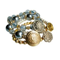Checkout this amazing deal Baby blue and gold stacking bracelets - layering bracelet set,$50