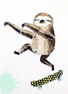 Articulated paper doll  Surfing skating sloth  DIY by lukaluka, $9.00