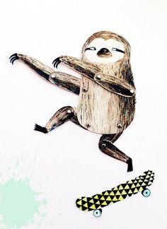 Artikulierte Paper doll - Surfen-Skaten Faultier - DIY Drucken Satz