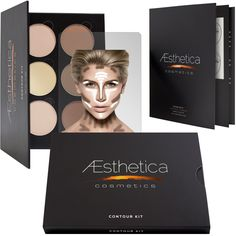 AEsthetica Makeup Contour Kit  The AEsthetica Cosmetics Contour Kit works to sculpt and highlight your favorite features. AEsthetica Contour Kit combines darker matte pressed powders and illuminating highlighting shades, in a handbag-friendly mirrored palette!