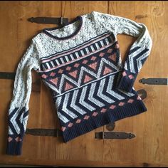 BKE Geometric knit sweater The stunning sweater is the perfect piece for Cool springtime nights. Super soft with gorgeous gray, navy blue and blush geometric pattern. Open knit detailing on sleeves and across shoulders! New without tags and in perfect condition! No pilling, stains, tears or fraying! Right on trend for spring to summer! #geometricpattern #knitsweater #springtosummer #nwot #angorablend #bkewomens BKE Sweaters Crew & Scoop Necks