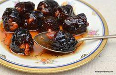 Dulceață de prune cu nucă rețeta de prune confiate umplute Cherry, Gem, Cooking, Ethnic Recipes, Paste, Food, Canning, Romanian Recipes, Kitchen