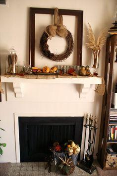 Love this fall mantel