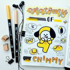 heeeey, im back again, this time with a spread about chimmy 😊💞 I really wanted to try making one of these anatomy of.-spreads for a… Bullet Journal Banner, Bullet Journal Aesthetic, Bullet Journal Notebook, Bullet Journal Ideas Pages, My Journal, Bullet Journal Inspiration, Journal Pages, Journals, Bts Book