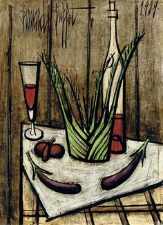 Bernard Buffet - Aubergines, tomate, fenouil; Creation Date: 1989; Medium: oil on canvas; Dimensions: 28.88 X 21.25 in (73.34 X 53.98 cm)