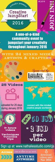 Creative JumpStart 2016 - 24 Mixed Media teachers- and 25 videos- Art In Translation! Kick your creativity into gear in January 2016!