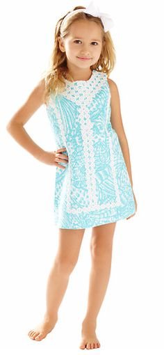 Lilly Pulitzer Girls Mini MacFarlane Shift Dress in Shorely Blue Sea Cups - Adorable Dress for Little Girls