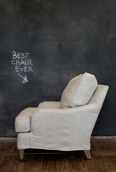 Features Leeu0027s Slipcovered Arm Chair With A Down Back Cushion In Stonewash  Belize Oatmeal Fabric.