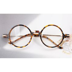 1920s Nerd Brille filigran rund Glasses Klarglas Hornbrille treber e1030 Leopard
