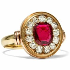 Antique 750 gold ruby and diamond ring. C. 1890