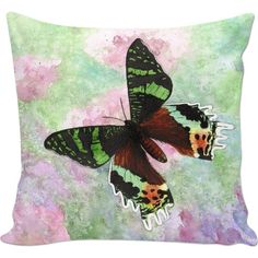 Urania Ripheus Butterfly Couch Pillow ($30) ❤ liked on Polyvore featuring home, home decor, throw pillows, spring home decor, animal throw pillows, watercolor throw pillows, butterfly throw pillows and butterfly home decor