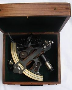 Navy Ship 7 Inch Brass Micrometer Nautical Sextant with Wooden Box