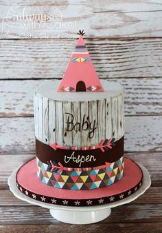 Celebration Cakes-Page 1 Pretty Cakes, Cute Cakes, Beautiful Cakes, Amazing Cakes, Native American Cake, Tribal Baby Shower, Baby Sprinkle, Girl Cakes, Baby Birthday