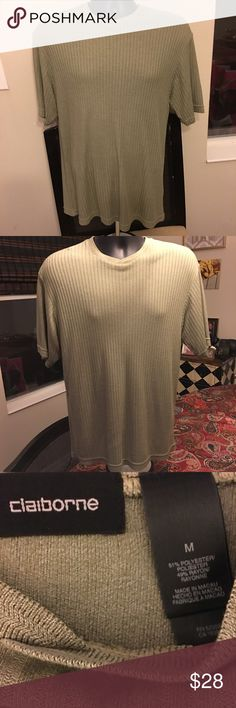 Liz Claiborne Men's Pullover Short Sleeve Shirt Ribbed with a slight overlay v neck. Polyester/Rayon mix gives this shirt a lovely feel! Men's size Medium. Like New!! Liz Claiborne Tops