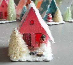 Vintage Putz Style Miniature Bright Pink Glitter Sugar House Shabby Christmas Village Tree Ornament
