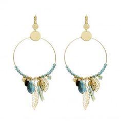 Boucles créoles avec breloques plumes et pompon (doré et bleu) - Bijoux Fantaisie Créateurs
