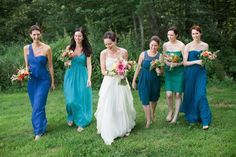 LOVE this Bridesmaids Dress Color Palette!! See More on #SMP here: http://www.StyleMePretty.com/new-england-weddings/2014/04/09/family-diy-wedding-in-maine/  -- Photography: MeredithPerdue.com
