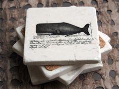 Vintage Sea Explorer Herman Melville Inspired Marble Coasters - set of 4. $24.00, via Etsy.
