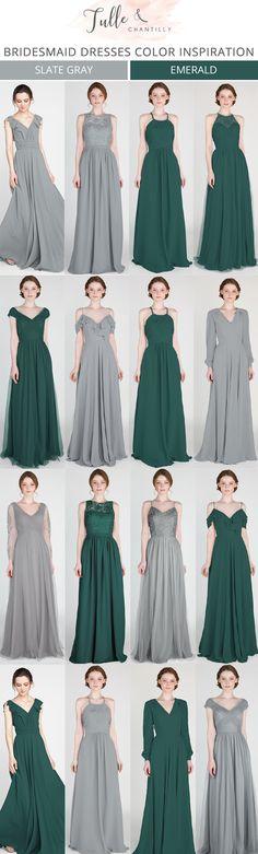 emerald green and grey bridesmaid dresses #bridalparty #bridesmaiddresses #weddingcolors