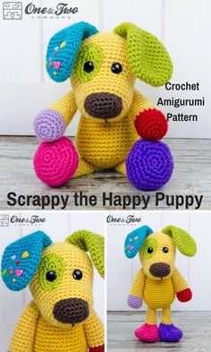 Scrappy the Puppy is a sweet crocheted amigurumi doll that would love to have a new owner. You can create your own Scrappy the Dog with this downloadable pattern. #crochet #amigurumi #crochetdoll #ad #amigurumidoll #amigurumipattern #dog #instantdownload