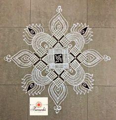 Rangoli Designs Flower, Rangoli Patterns, Rangoli Designs Diwali, Rangoli Designs With Dots, Kolam Rangoli, Beautiful Rangoli Designs, Kolam Designs, Simple Rangoli, Padi Kolam