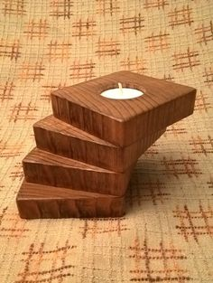 Wooden Tea Light Candle Holder by MeadhillRustic on Etsy