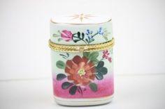 Porcelain Cigarette Case Formalities Baum Bros Gilt Metal Mount Clasp Florals