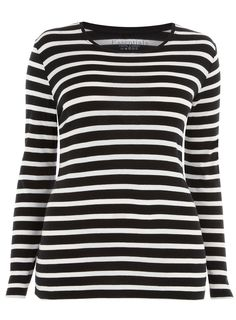 my favorite style shirt-blk and whit stripe. Love it!!!!!   qb  Evans Black and White Stripe Tee, $20.