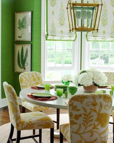 This beautiful room filled with sunlight, is even better because the #colors bring in the beauty of the world outside. #Green is a refreshing #color, and the #yellows compliment the greens perfectly. This is the perfect example of a well planned color palette.