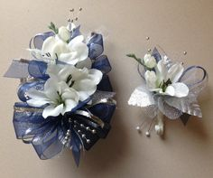 Navy Blue & Silver Silk Prom Wrist Corsage by FlorescenceByDesign, $26.95