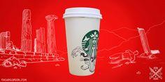 #Starbucks #coffee #cups #café #illustration #ilustracion #Siren #Sirena #Cartoon #GIF #Medusa #snake #greek