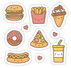 If you love junk food, you are going to love this kawaii junk food doodles! It features cute doodles of hamburger, doughnut with sprinkles, sausage hot dog bun, slice of pizza, french fries, soda drink, ice cream and cone. • Also buy this artwork on stickers, apparel, phone cases, and more.