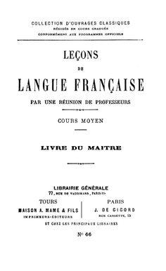 Manuels anciens: Leçons de langue française CM livre du maître