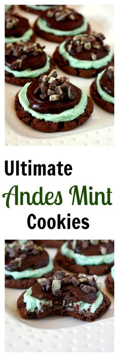 Ultimate Andes Mint Cookies - soft and chewy chocolate cookie with mint frosting, chocolate glaze, and chopped andes mints on top! Perfect for Christmas! Yummy Cookies, Cookies Soft, Yummy Treats, Sweet Treats, Baking Recipes, Cookie Recipes, Dessert Recipes, Baking Ideas, Chewy Chocolate Cookies