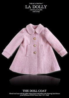 7b2bd99ca5a LA DOLLY made in Italy 'the DOLL COAT' pink The DOLL COAT is a beautiful  flared coat crafted from wool with big golden buttons and lined with our  Dolly ...