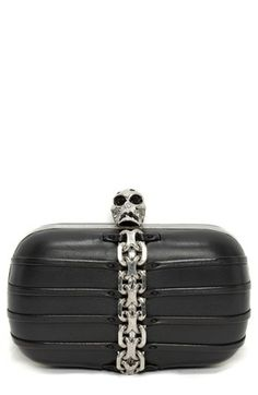 Alexander McQueen Classic Skull Chain Lambskin Leather Clutch