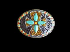 Shoply.com -Turquoise Cross Mosaic Belt Buckle. Only $65.00