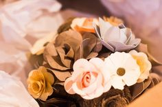 paper flower centerpiece. Colorado wedding, rustic chic wedding, handmade. #lissyallysedesigns