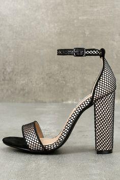 334dee3bdd4df Carrson Black Mesh Ankle Strap Heels