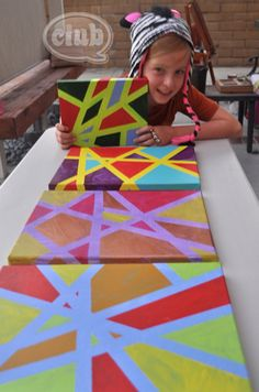Kid's Canvas Art is a fun and easy take home craft! Create Your Own Modern Art with Painter's Tape