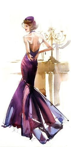 fashion sketch drawing illustration #purple #gown #dress