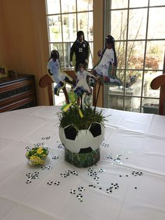 ideas about Soccer Centerpieces Sports Themed Centerpieces, Banquet Centerpieces, Banquet Decorations, Graduation Decorations, Banquet Ideas, Graduation Ideas, Soccer Decor, Soccer Theme, Soccer Gifts
