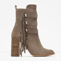 Zara High Heel Ankle Boots Beautiful boots with fringes!!  No longer need these!!  Sorry no trades/paypal!  Size is US7.5/EUR38.  Make me an offer! Zara Shoes Ankle Boots & Booties