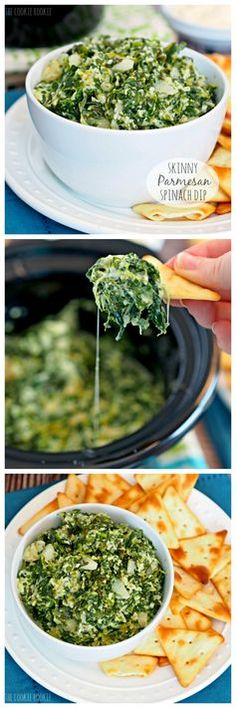 Crockpot Skinny Parmesan Spinach Dip! Made with greek yogurt. Perfect for tailgating.