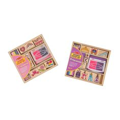 Melissa & Doug Wooden Stamps, Set of 2 - Princess and Friendship, With 18 Stamps, 10 Colored Pencils, and 2 Stamp Pads Crayola Colored Pencils, Alphabet Stamps, Stamp Pad, Melissa & Doug, Craft Accessories, Free Fun, Kits For Kids, Creative Play, Ink Pads