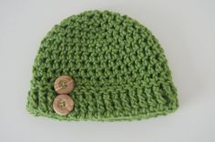 Kids crocheted hat in Green with wood buttons by TheTipsyTurtle, $15.00