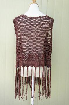 Plus tamaño Fringe Crochet chaleco Cardigan sin por TinaCrochet2016